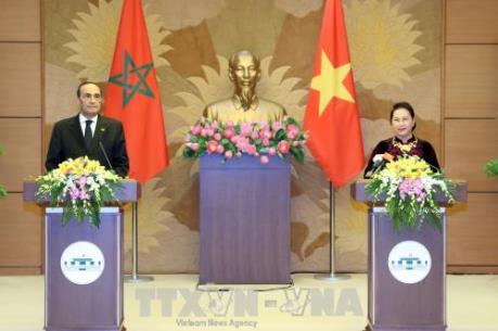 Chủ tịch Quốc hội Nguyễn Thị Kim Ngân và Chủ tịch Hạ viện Vương quốc Maroc gặp gỡ báo chí