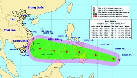 Xuất hiện bão Sanba gần Biển Đông