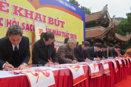Lễ khai bút và khai mạc Hội sách Xuân Mậu Tuất tại Đền thờ thầy giáo Chu Văn An