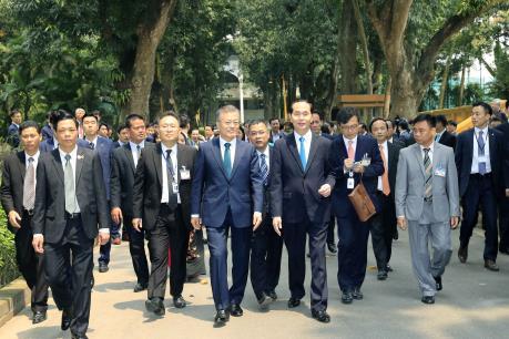 Chủ tịch nước Trần Đại Quang hội đàm với Tổng thống Hàn Quốc Moon Jae-in