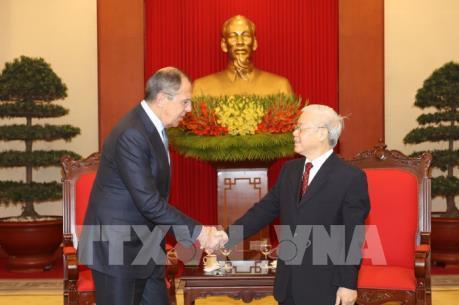 Tổng Bí thư Nguyễn Phú Trọng tiếp Bộ trưởng Ngoại giao Liên bang Nga Sergey Lavrov