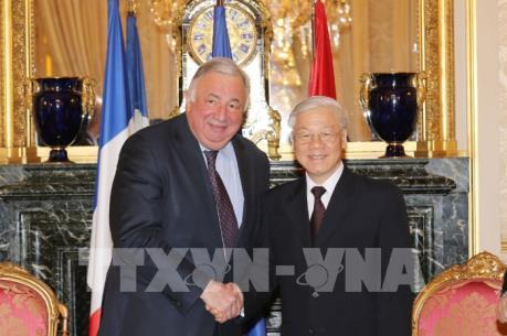 Tổng Bí thư Nguyễn Phú Trọng hội kiến Chủ tịch Thượng viện Pháp Gérard Larcher