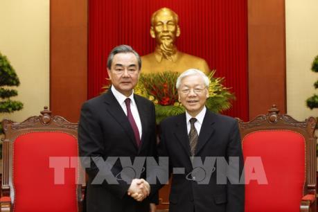 Tổng Bí thư Nguyễn Phú Trọng tiếp Bộ trưởng Ngoại giao Trung Quốc Vương Nghị
