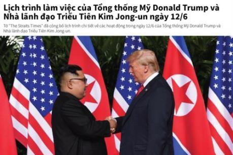 Lịch trình làm việc của Tổng thống Mỹ và nhà lãnh đạo Triều Tiên ngày 12/6