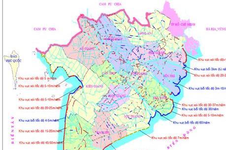 Bản đồ sạt lở bờ sông, xói lở bờ biển vùng Đồng bằng sông Cửu Long