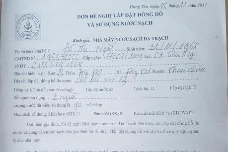 Việc thu tiền đấu nối đồng hồ đo nước sạch ở xã Đông Kết không trái luật