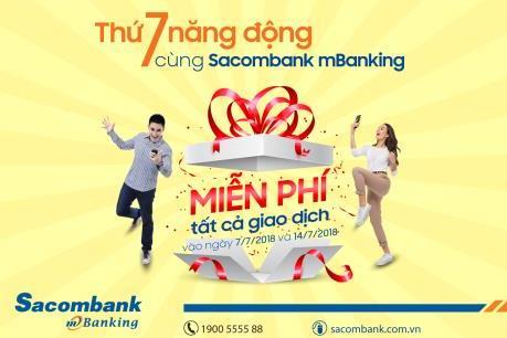 Sacombank miễn phí giao dịch qua mBanking