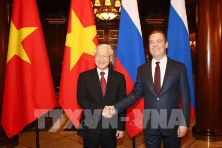 Tổng Bí thư Nguyễn Phú Trọng hội kiến Thủ tướng Liên bang Nga Dmitry Medvedev