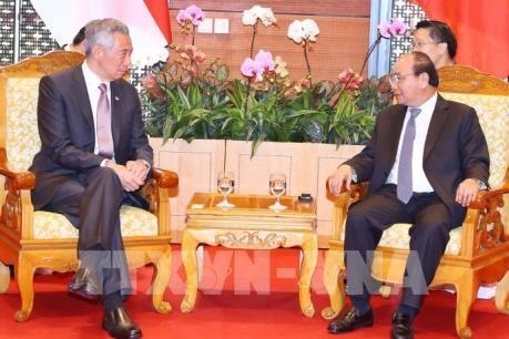 WEF ASEAN 2018: Thủ tướng Nguyễn Xuân Phúc tiếp Thủ tướng Singapore Lý Hiển Long