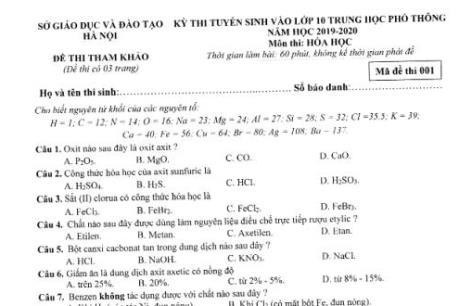 Đề thi tham khảo kỳ thi tuyển sinh vào lớp 10 THPT môn Hóa học