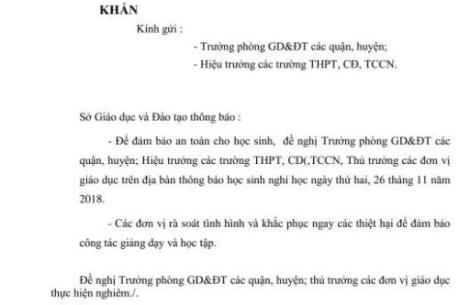 Bão số 9: Ngày mai 26/11, học sinh TP Hồ Chí Minh được nghỉ học