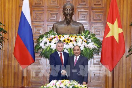 Thủ tướng Chính phủ Nguyễn Xuân Phúc tiếp Chủ tịch Duma quốc gia Nga