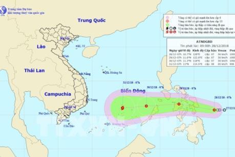Từ đêm 29/12, áp thấp nhiệt đới ở khu vực giữa Biển Đông có khả năng mạnh lên thành bão