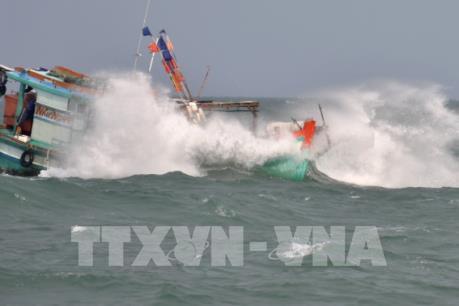 Cứu hộ tàu cá gặp nạn ở Cà Mau gặp khó vì sóng to gió lớn