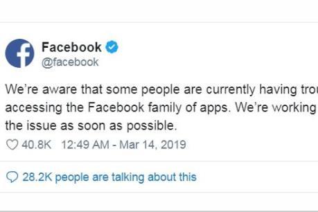 Facebook phải dùng Twitter để giải thích sự cố sập hàng loạt