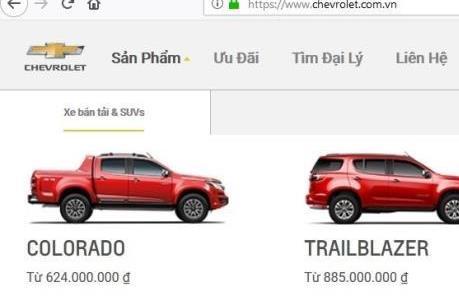 Bảng giá xe ô tô Chevrolet tháng 4/2019