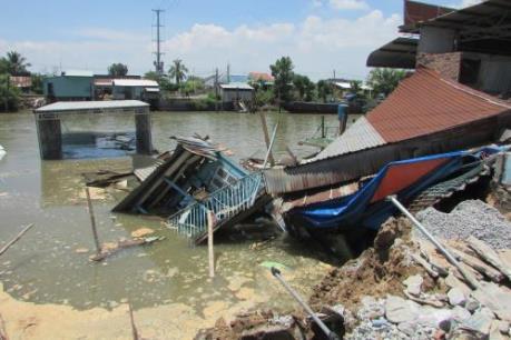 Ghe chở 80 tấn gạo bị chìm sau vụ sạt lở bờ kênh Cái Sắn
