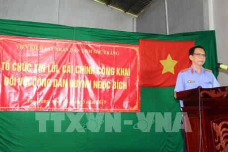 Viện Kiểm sát nhân dân tỉnh Sóc Trăng xin lỗi công dân do truy tố oan sai