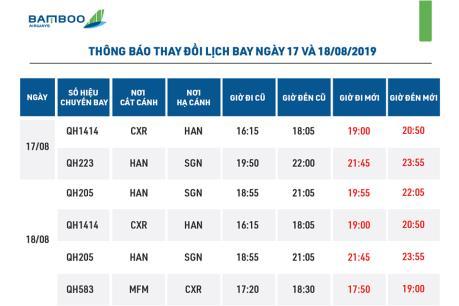Bamboo Airways điều chỉnh thời gian khai thác 3 chặng bay trong hai ngày tới