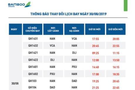 Bamboo Airways điều chỉnh lịch bay do ảnh hưởng của bão số 4