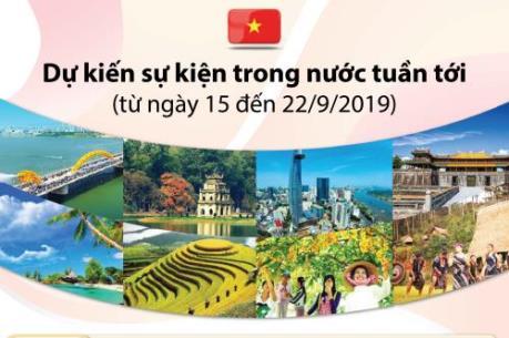 Dự kiến sự kiện trong nước tuần tới (từ ngày 15 đến 22/9/2019)