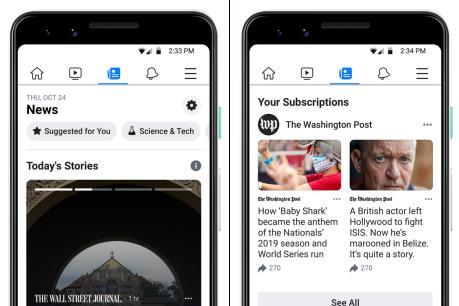 """Facebook bắt đầu triển khai tính năng """"News Tab"""" ở Mỹ"""