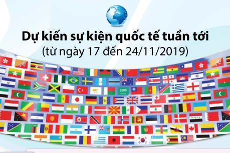 Dự kiến sự kiện quốc tế tuần từ 17 đến 24/11/2019