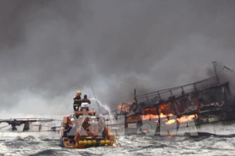 Hàn Quốc huy động tàu, trực thăng tìm kiếm thuyền viên mất tích trong vụ cháy tàu cá