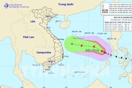 Bão số 8 suy yếu và sẽ thành vùng áp thấp vào ngày 29/12