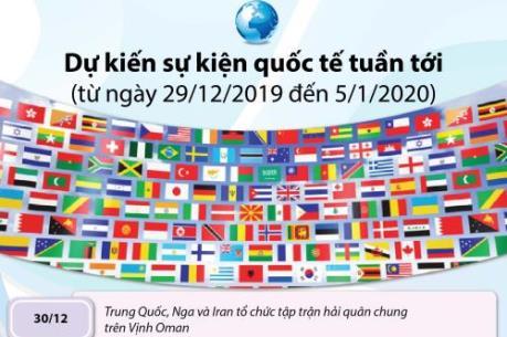 Dự kiến sự kiện quốc tế tuần tới (từ ngày 29/12/2019 đến 5/1/2020)