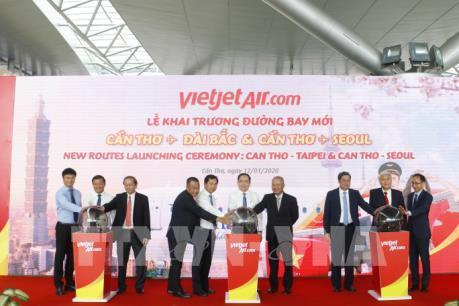 Thêm hai đường bay mới từ Cần Thơ đi Đài Bắc (Trung Quốc) và Hàn Quốc