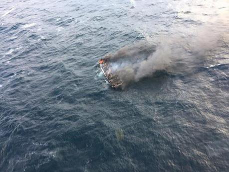 Cháy tàu cá ngoài khơi đảo Jeju (Hàn Quốc), 5 người Việt mất tích