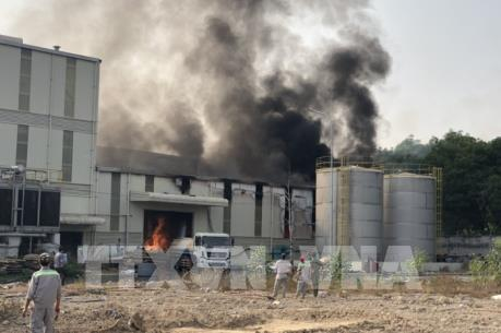 Bình Phước: Cháy lớn trong khu công nghiệp Nam Đồng Phú