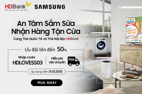 Giảm giá đến 50% sản phẩm Samsung khi sử dụng thẻ HDBank