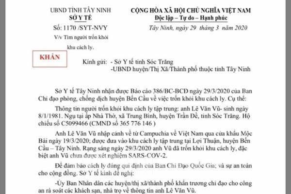 Sở Y tế Tây Ninh thông báo khẩn tìm một người trốn khỏi khu cách ly