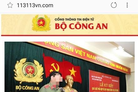 Phát hiện trang mạng mạo danh Cổng Thông tin điện tử Bộ Công an