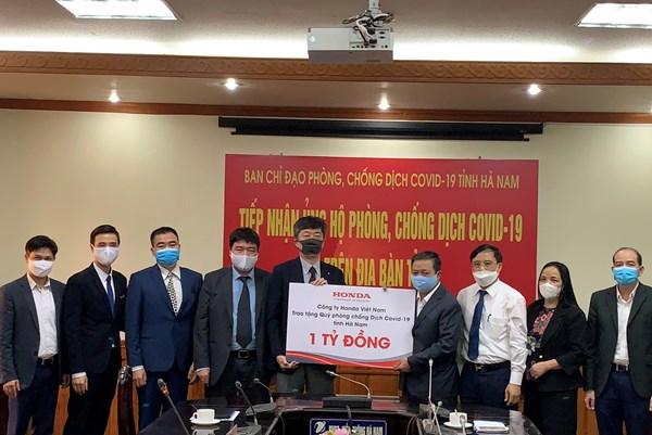 Honda Việt Nam ủng hộ tỉnh Hà Nam phòng chống dịch COVID-19