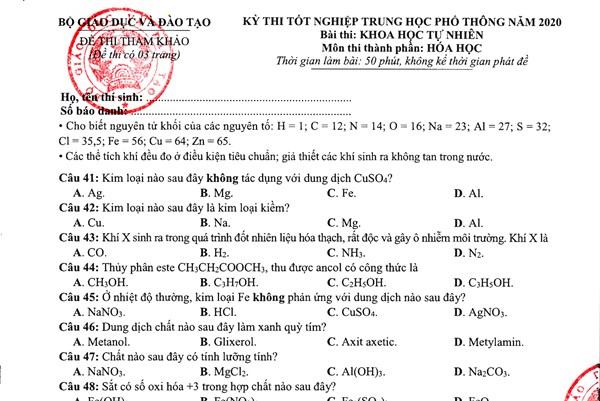 Đề thi minh họa tốt nghiệp THPT 2020 môn Hóa học