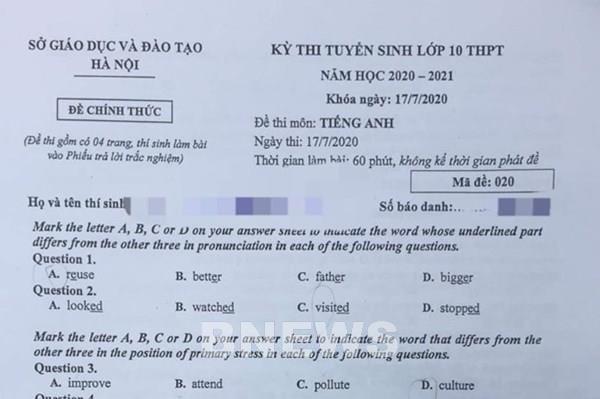 Đề thi và đáp án môn Ngoại ngữ lớp 10 tại Hà Nội năm học 2020-2021