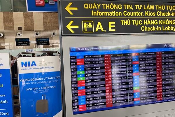 Từ 30/7,  sân bay Nội Bài chuyển đổi hình thức thông tin cho hành khách