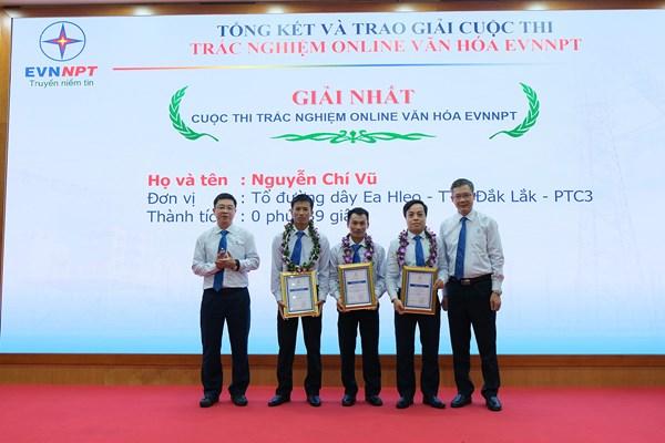 Trao giải cuộc thi trắc nghiệm online văn hóa EVNNPT