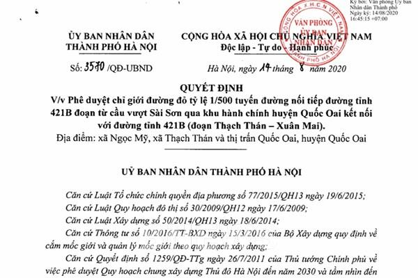 Phê duyệt chỉ giới đường đỏ tỷ lệ 1/500 tuyến đường tại huyện Quốc Oai