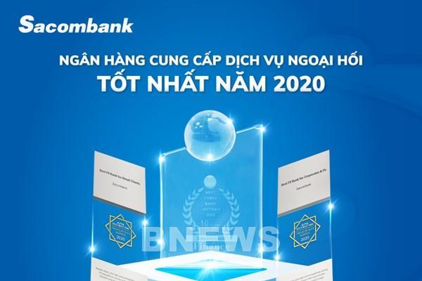 """Sacombank nhận giải """"Ngân hàng cung cấp dịch vụ ngoại hối tốt nhất năm 2020"""""""