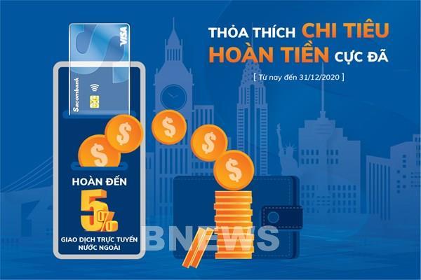 Hoàn đến 3 triệu đồng khi giao dịch online bằng thẻ Sacombank Visa