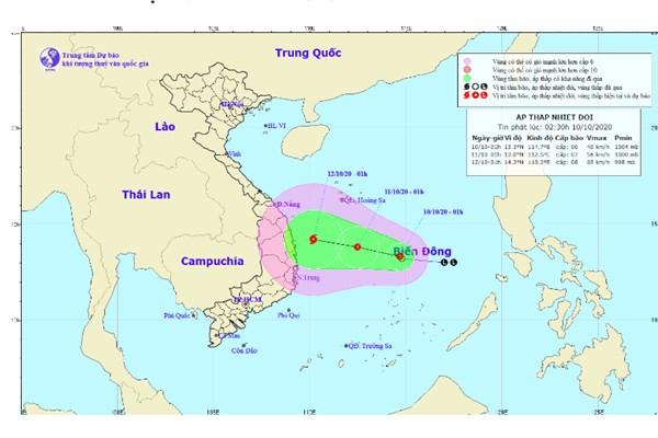 Dự báo thời tiết hôm nay 10/10: Vùng áp thấp đã mạnh lên thành áp thấp nhiệt đới