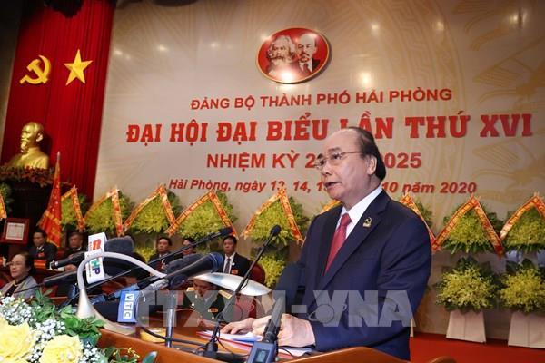 Thủ tướng Nguyễn Xuân Phúc dự chỉ đạo Đại hội Đảng bộ thành phố Hải Phòng lần thứ XVI