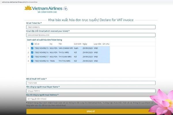 Vietnam Airlines đổi mới phương thức xuất hóa đơn cho khách mua vé trực tuyến