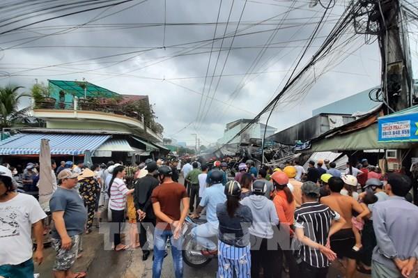 Cháy lớn tại chợ phường 8, thành phố Cà Mau