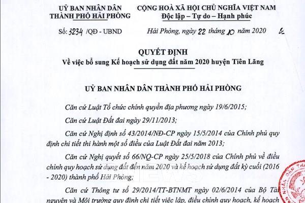 Quyết định bổ sung kế hoạch sử dụng đất năm 2020 huyện Tiên Lãng