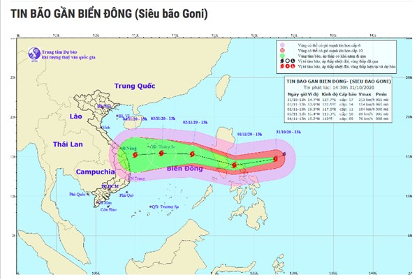 """Siêu bão Goni có thể """"càn quét"""" các tỉnh, thành từ Thanh Hóa đến Khánh Hòa"""